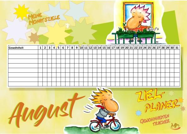 Zielplaner Gewohnheitentracker August