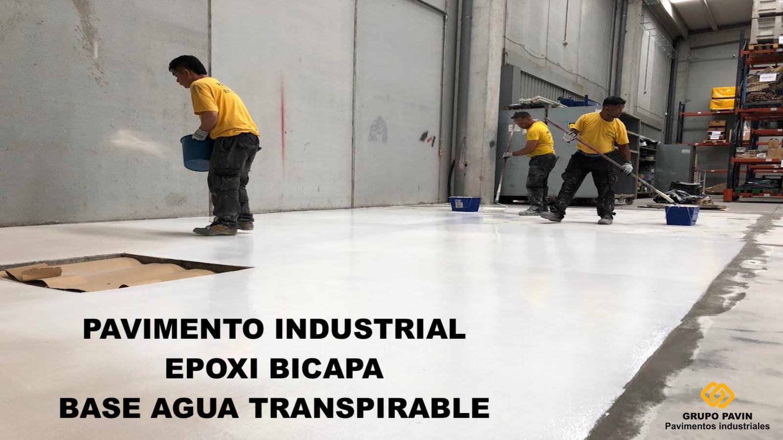 Pavimento industrial epoxi bicapa base agua transpirable