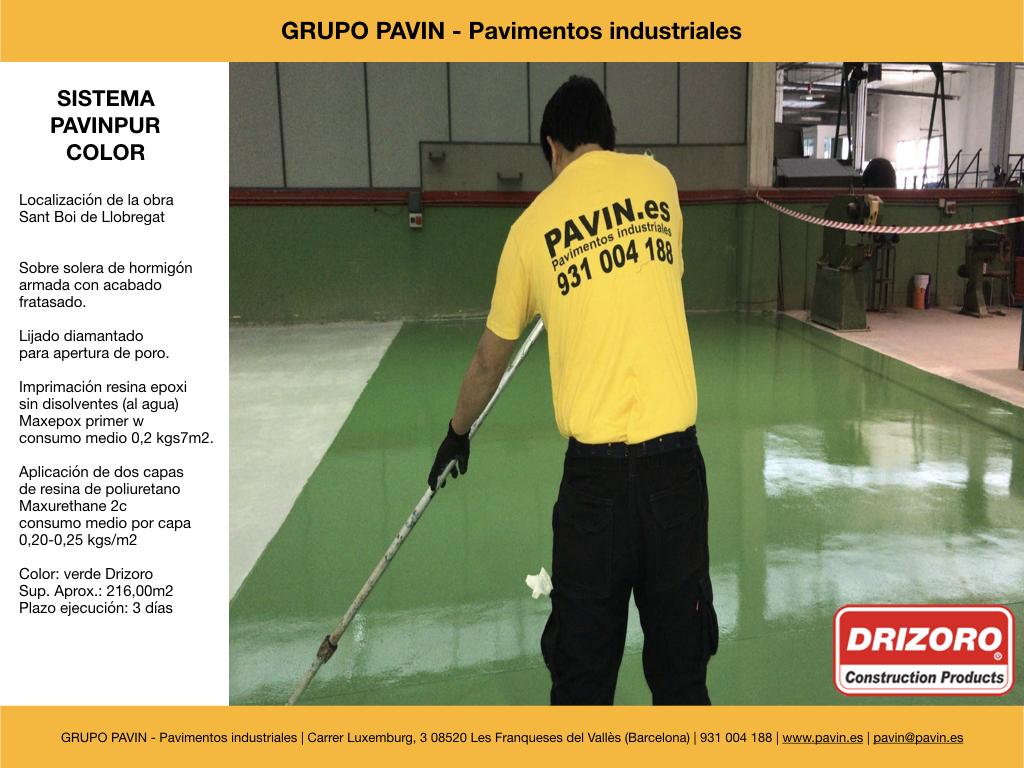 GRUPO PAVIN - Pavimentos industriales | Sistema Pavinpur color con | Imprimación resina epoxi sin disolventes (al agua) Maxepox primer w consumo medio 0,2 kgs7m2