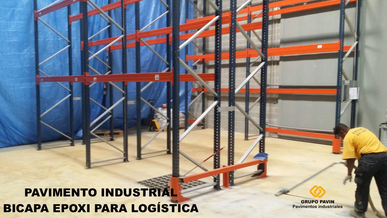 Pavimento industrial bicapa epoxi para empresa logística