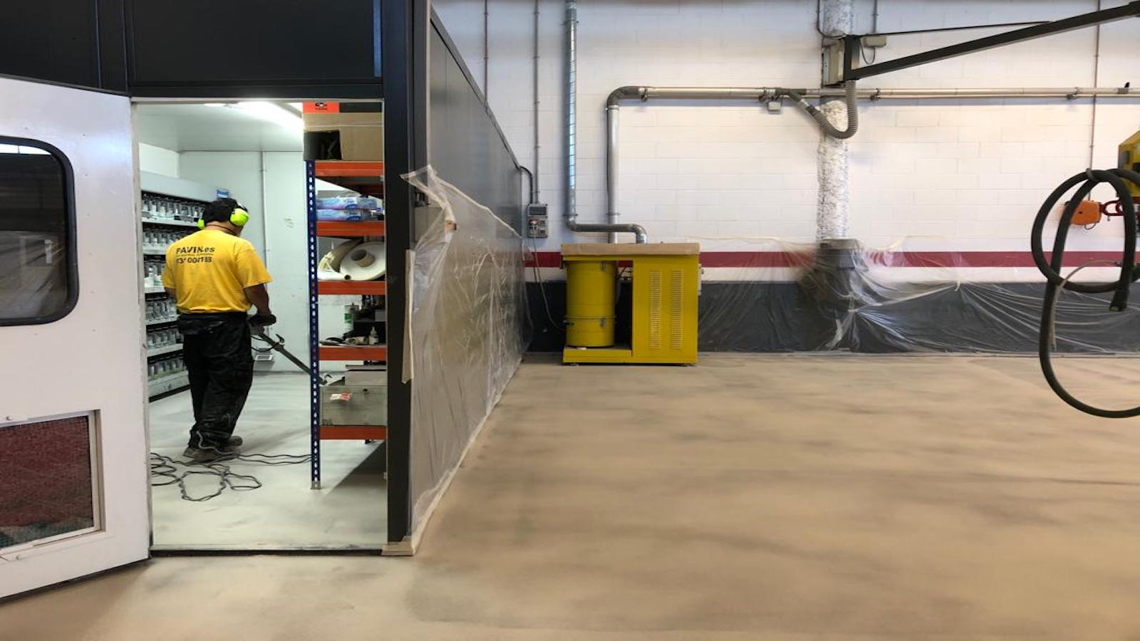 Pavimento industrial para taller de chapa y pintura