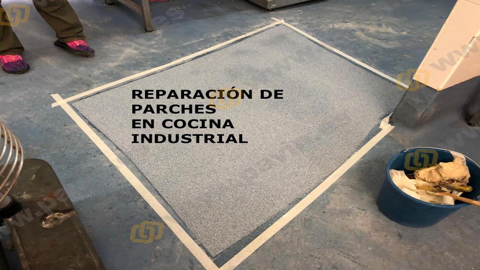 Reparación suelo cocina industrial con parcheo