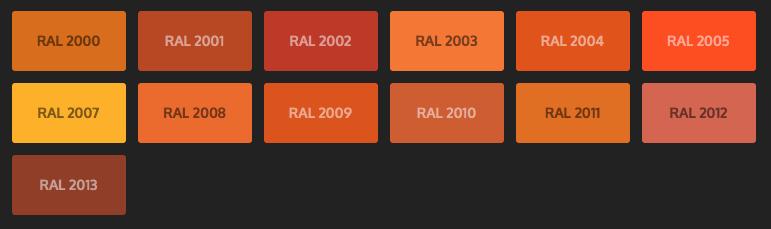 GRUPO PAVIN - Suelos y pavimentos industriales   Carta de colores RAL Classic - Tonos naranjas
