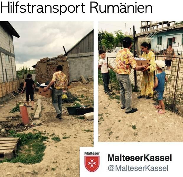 Im Mai 2015 ist der Auslandsdienst der Malteser in Kassel vor Ort in Rumänien und verteilt die Hilfsgüter