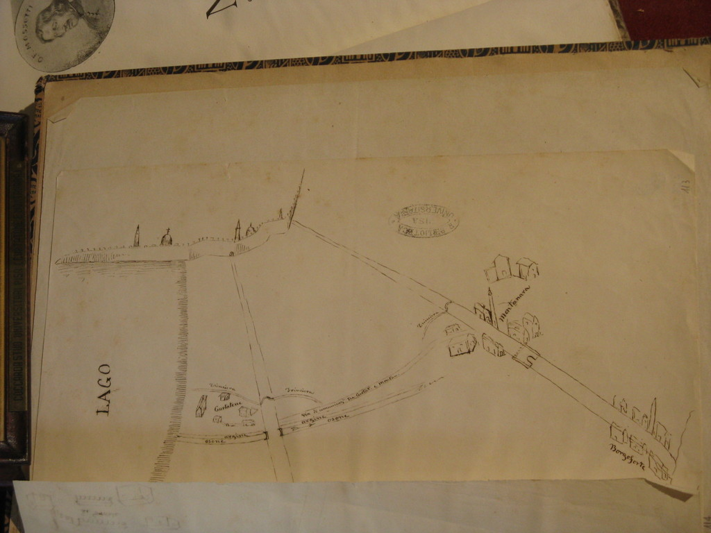Schizzo originale della battaglia di Curtatone e Montanara - Original sketch of the battle of Curtatone eand Montanara