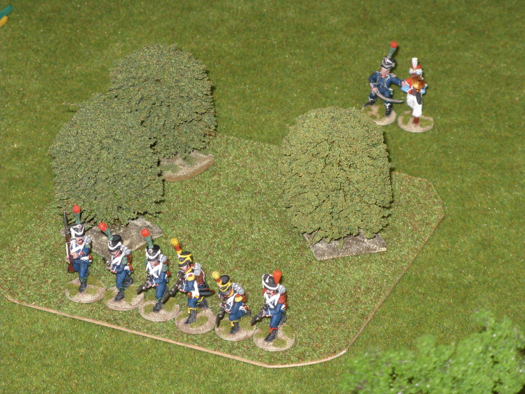 La fanteria leggera francese occupa un bosco