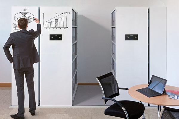 Mobilregale Fronten beschriftbar mit Whiteboard (auch magnetisch) für Büro - lagerconsulting.at