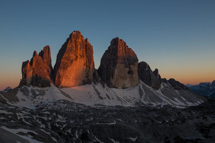 Sonnenuntergang bei den Drei Zinnen.
