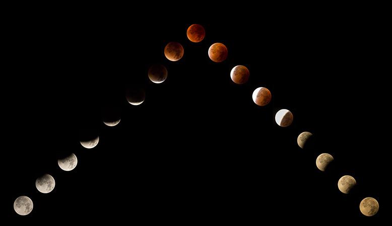 Verlauf der Mondfinsternis (28. September 2015)