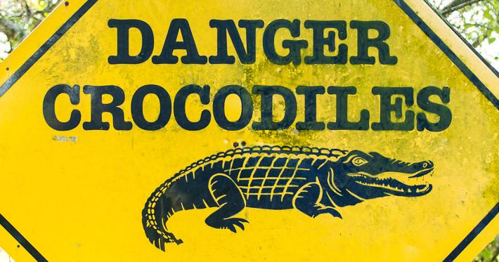 Warnung vor dem Krokodil - dieses Schild steht kurz vor dem Bohlenweg am Parkplatz!