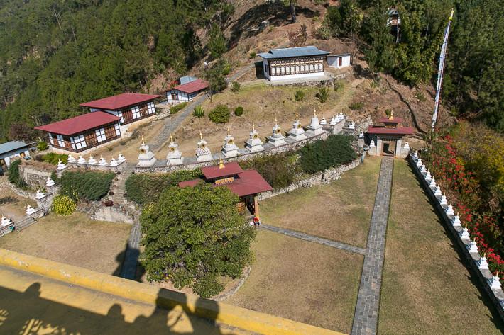 Aussicht vom Dach des Tempels auf die weitläufige Tempelanlage.