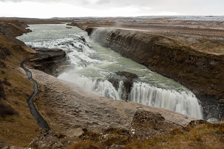 Der Wasserfall Gullfoss, einer der Orte des Golden Circle.