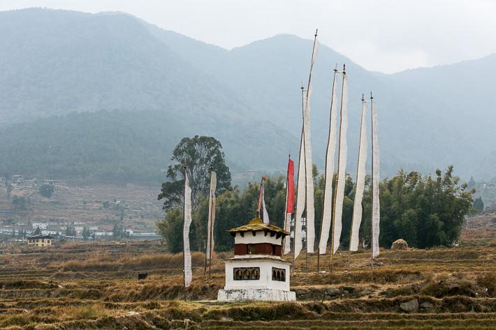 Stupa auf dem Weg zum Chime Lhakhang Tempel.