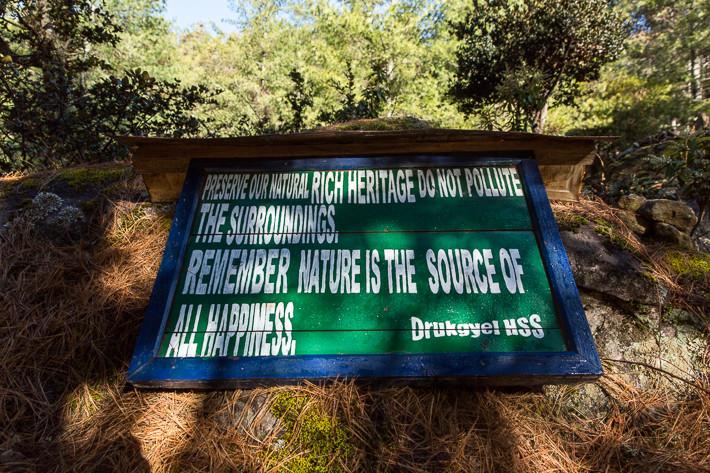 Zu jedem Zeitpunkt wird in Bhutan an den Schutz der Natur erinnert! Ich persönlich begrüsse dies uneingeschränkt!