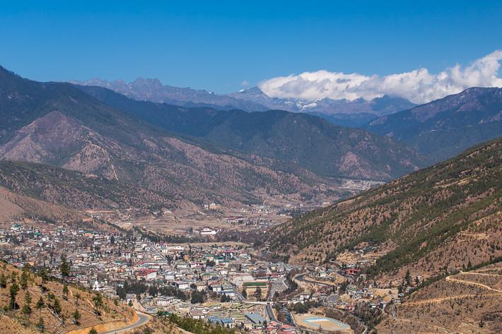 Blick auf Thimphu und das Wang Chu Tal