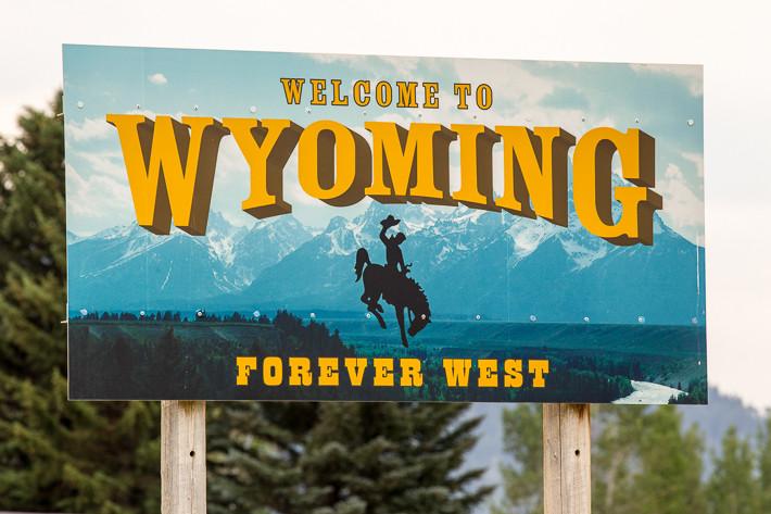 """""""Welcome to Wyoming"""" - an der Grenze zwischen Idaho und Wyoming"""