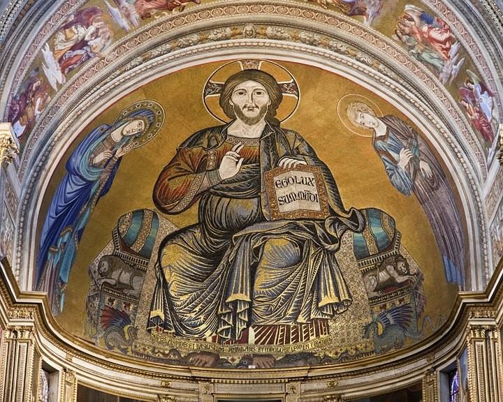 Mosaik des Christus Pantokrator in der Apsis.