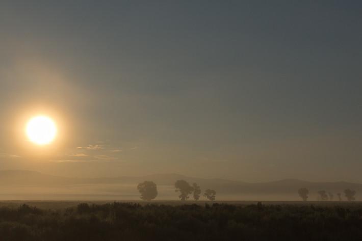 Früh morgens ist der Grand Teton Nationalpark noch im Nebel.
