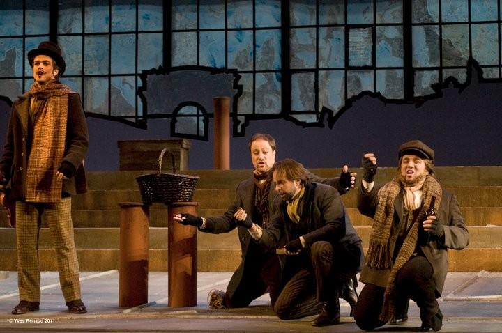 Montreal Opera Bohème Pierre Rancourt Antoine Bélanger, Étienne Dupuis,  dir.Giuseppe Pietraroia credit photo Yves Renaud