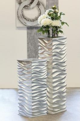 Pflanzgefäß Wave silber Blumentopf 139,00€ 70x27x27 cm Casablanca Design