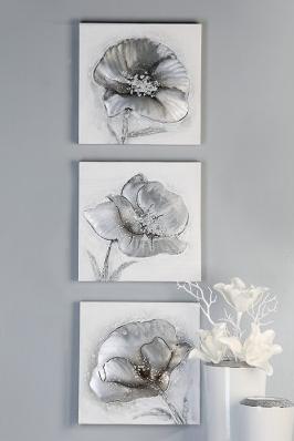 Ölbild Flowers 3er Set 69,00 € 30x30 cm Casablanca Design