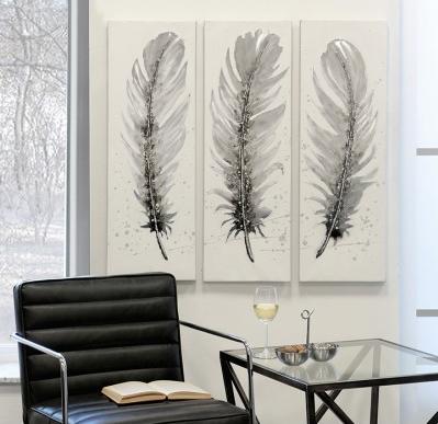Ölbild Feder 3er Set 159,00 € 90x30 cm Casablanca Design