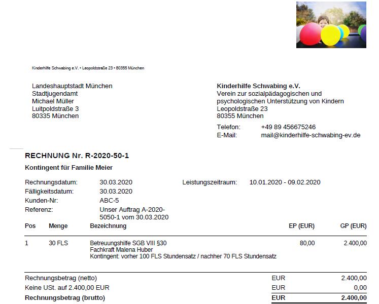 Rechnung Formular Kontingente Jugendamt Sozialpädagogische Familienhilfe