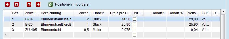 Angebotspositionen aus Excel Preiskalkulation importieren
