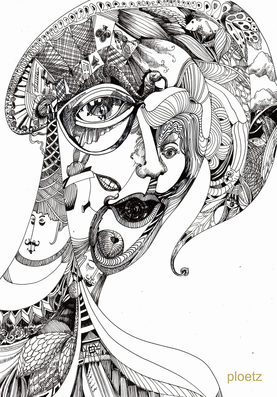 Inspired by Alice 9, 30 x 40 cm, ink pen on paper, 2015