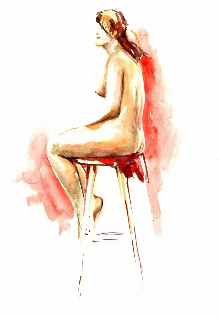 Nude in Red, 30 x 40 cm, watercolour on paper (sold)