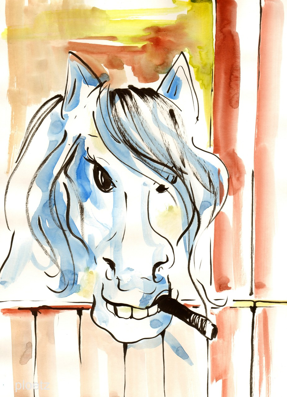 """No Smoking Here (Some Horses)"", 30 x 40 cm, markers on paper, 2014"