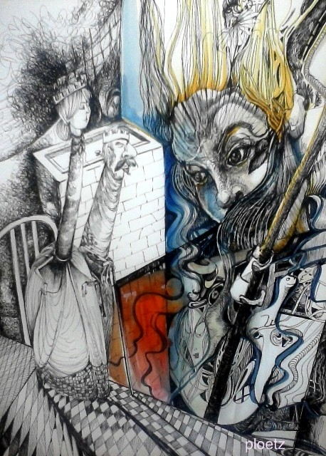 Inspired by Alice 3, 30 x 40 cm, ink and watercolour on paper, 2015