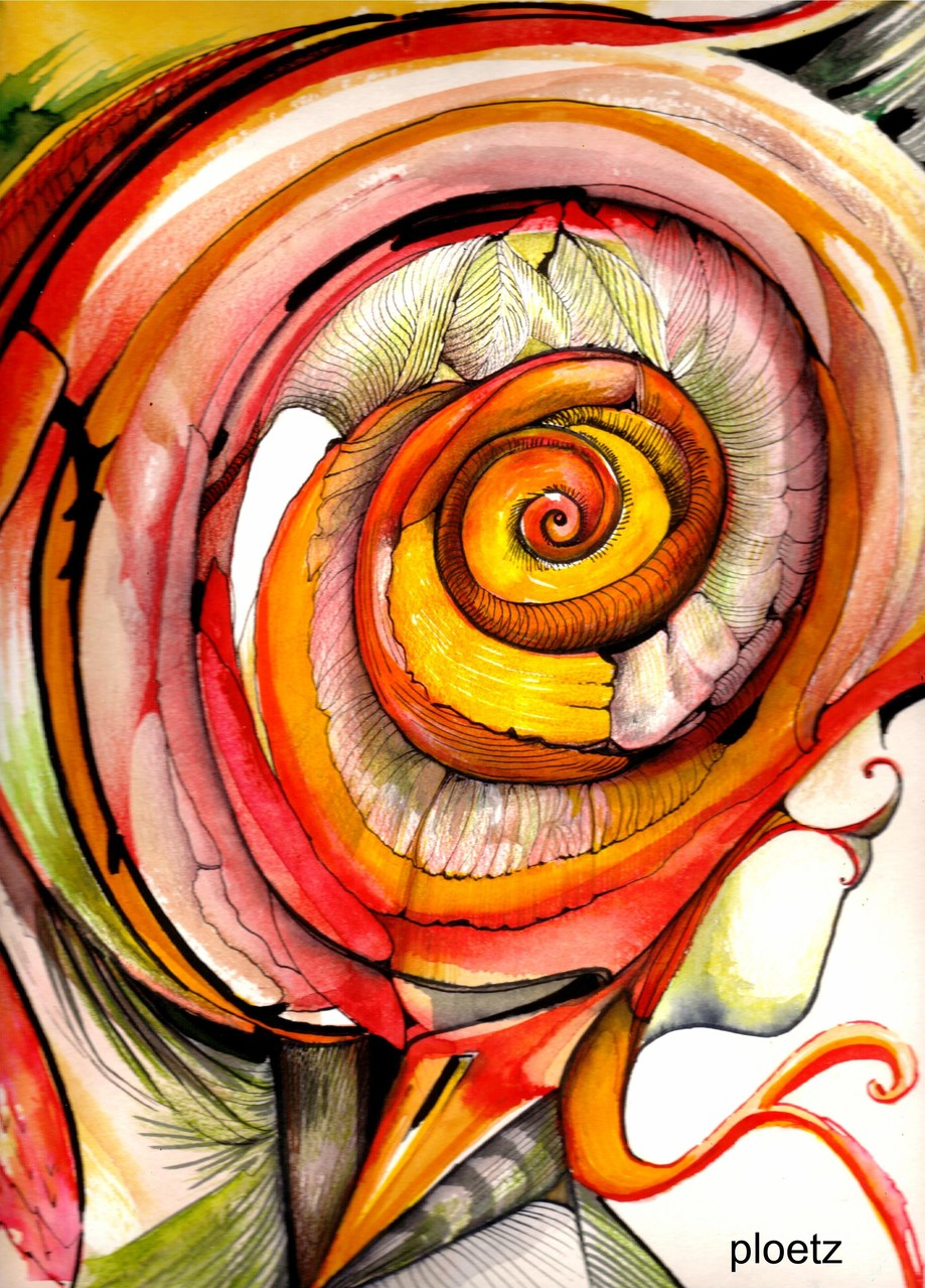"""""""It Hurts (Spiral of Thought)"""", mixed on paper, 2014, 24 x 32 cm, 2014"""