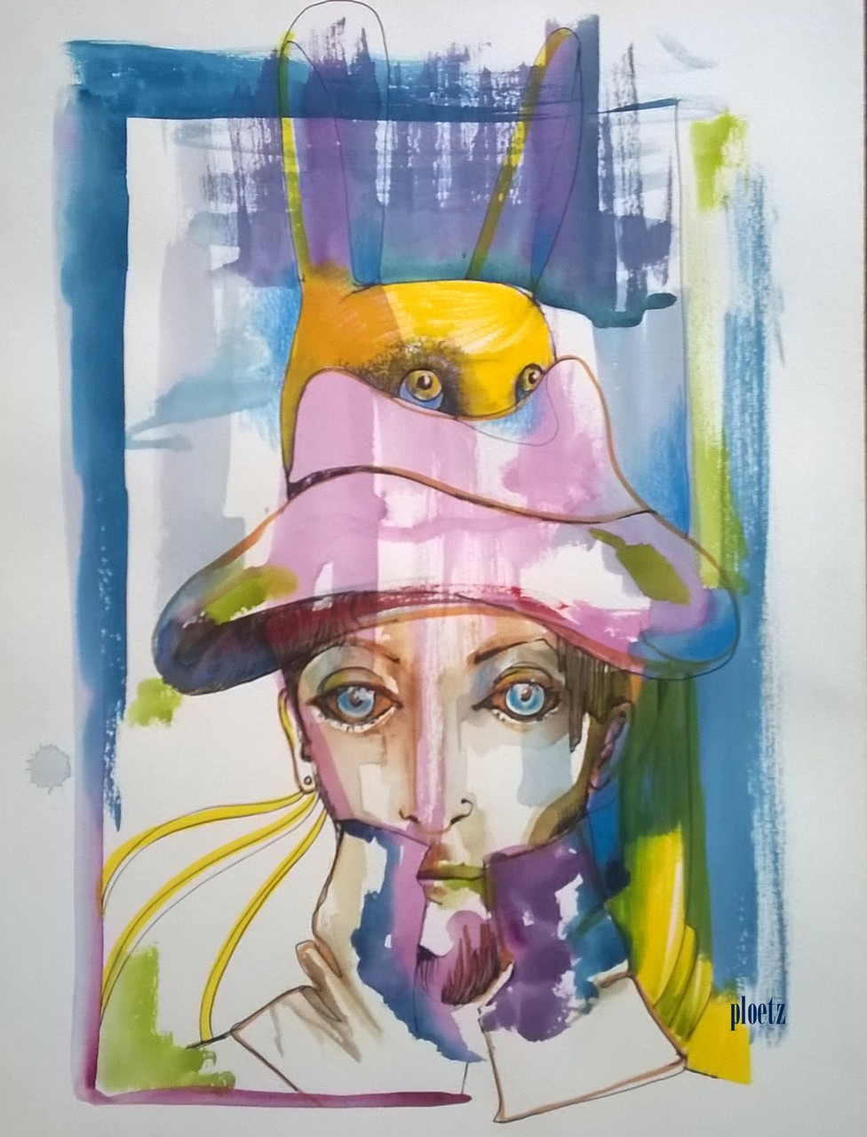 """""""Mad Hatter"""", 30 x 40 cm, mixed on paper, 2015"""