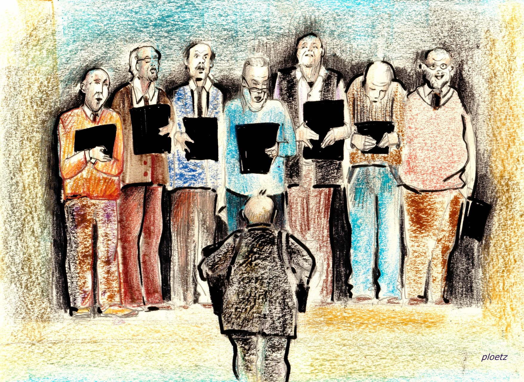 """Church Choir"" oil pastels and marker on paper, 24 x 32 cm, 2016  (sold to a collectot in Germany)"
