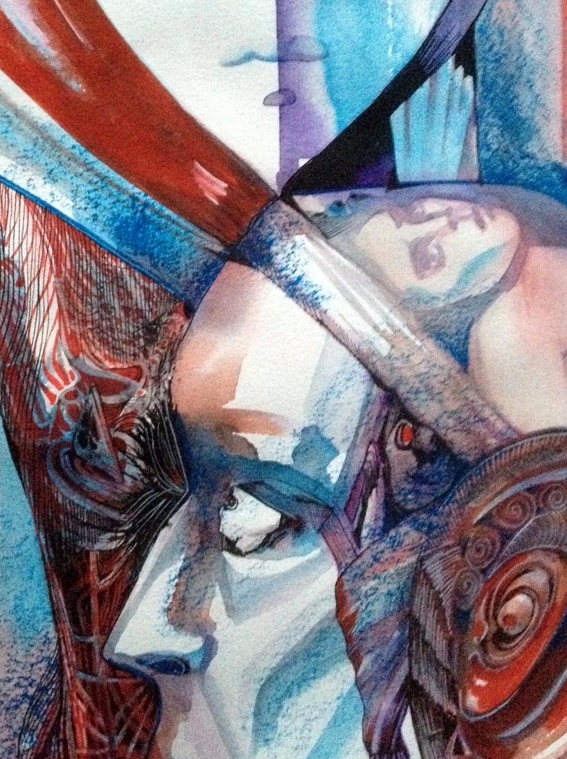 Sapience, 30 x 40 cm, acrylic, watercolour, oil pastel on paper, 2016