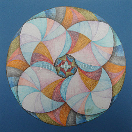 """Whirling"",23*23cm bristol board, color pencils, 1999"