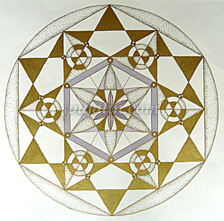 """The Play of Geometry"", 37*37cm art paper, oil pens & color pencils, 2010"