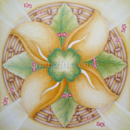 """Blessing from The Four Leaved Clover"", 15*15cm sketch paper, color pencils, 2008"