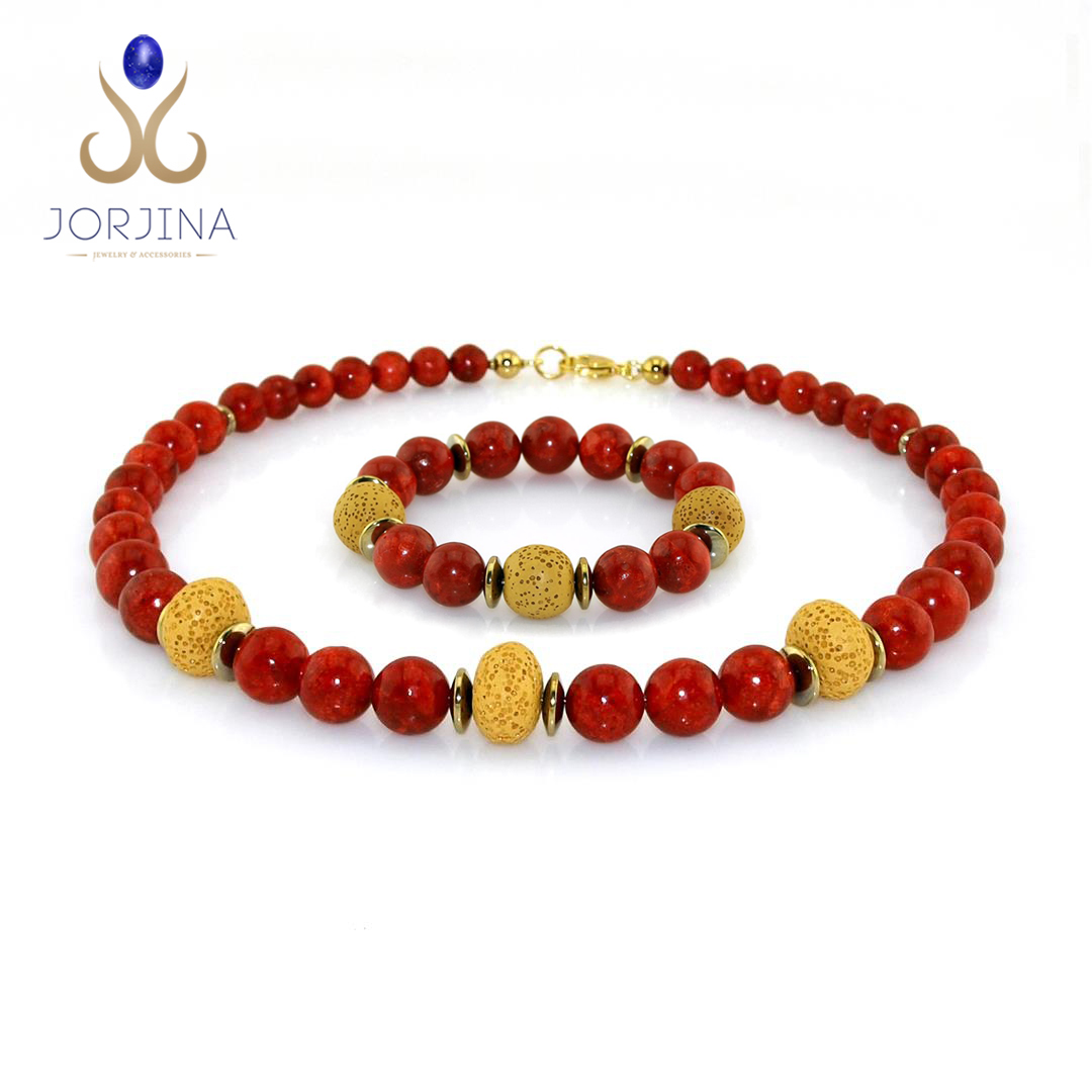 Ladies Set of Necklace and Bracelet with Coral and Lava