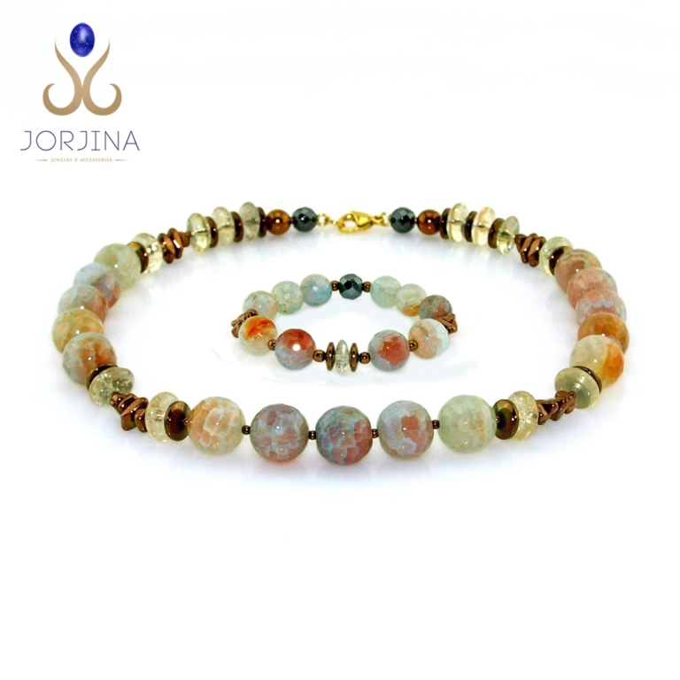 Ladies Set of Necklace and Bracelet with Agate and Citrine