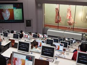 パソコンを使ったせり風景。買受人は枝肉の下見をしておいて、お目当ての枝肉をせり落とします。