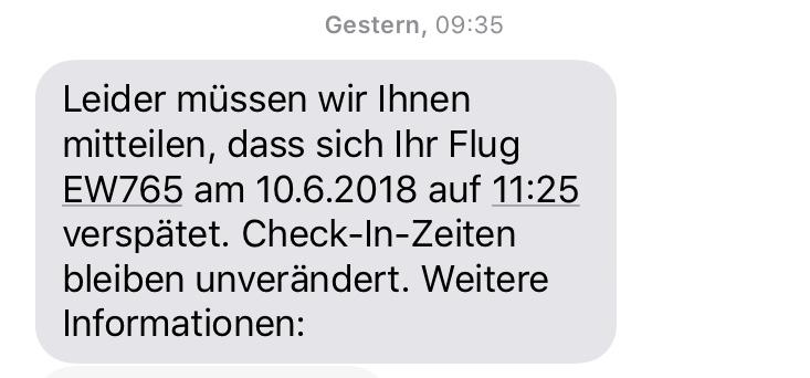 09:35 Uhr, Zurich Airport: Again bad news via SMS
