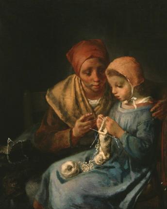La leçon de tricot, Jean François Millet, la peinture s'intéresse aux conditions de vie des campagnes, une magnifique image de transmission