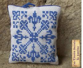 coussin, sachet de lavande rechargeable, motif d'inspiration médiévale
