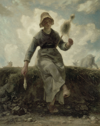 la chevrière auvergnate et son troupeau J.F. Millet, filer la laine pour que la toison se transforme en de belles oeuvres tricotées, crochetées...