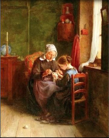 La leçon de couture Pierre-Edoaurd Frère: 2 générations face à face: une enfant sous le regard attentif de sa grand-mère