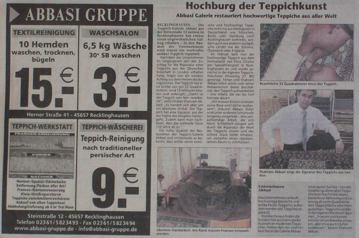 teppiche recklinghausen hochburg der teppichkunst abbasi gruppes webseite. Black Bedroom Furniture Sets. Home Design Ideas