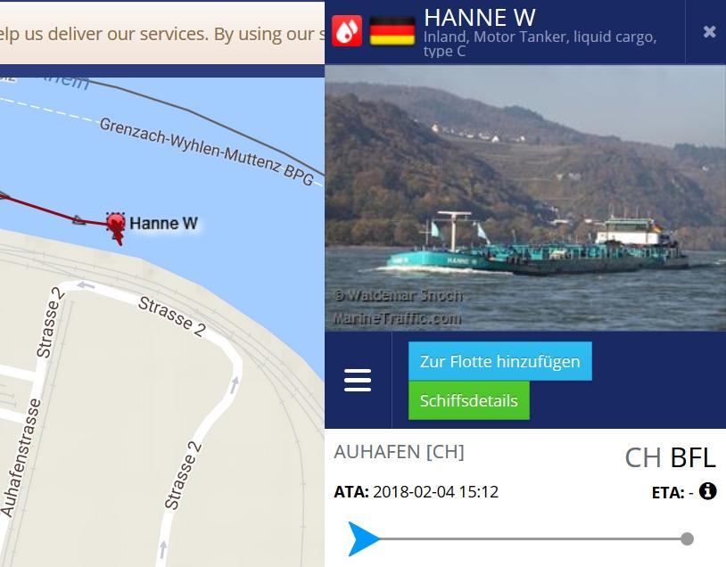 Hey, das Internet ist voll cool: man kann genau nachschauen, wo ein Schiff sich gerade befindet. Die Hanne W ist im Auhafen :-)