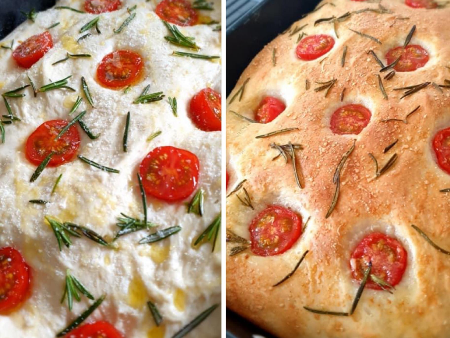 Focaccia met tomaten en rozemarijn